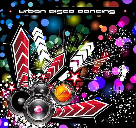 baile hip hop: Hip Hop fondo de sucesos de disco de m�sica con fondo de escarcha de Rainbow
