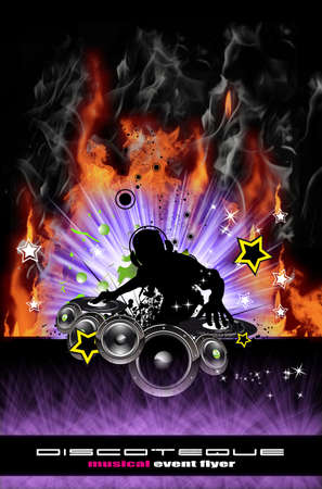 Abstract Discoteque Dj Flyer with Real Flames photo