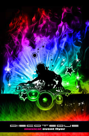 discoteque: Abstract Discoteque Dj Flyer with Real Flames Stock Photo