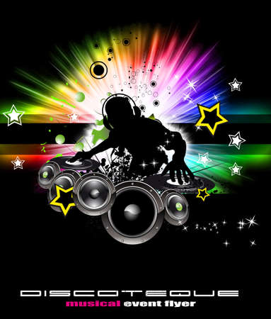 rap music: Abstract Colorful Burning Dj Background for Alternative Disco Flyers Stock Photo