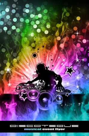 대체 디스코 전단지에 대한 추상 다채로운 레코딩 DJ 배경