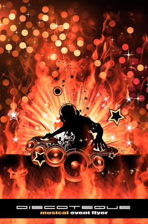 Abstract Colorful Burning Dj Background for Alternative Disco Flyers photo
