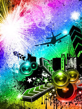 Urban-Dirty Grunge Style Disco Flyer Hintergrund Standard-Bild