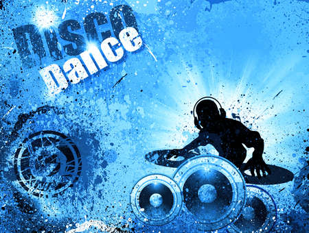 Techno Grunge style DJ Disco Flyer Background photo