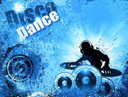 mixer: Techno Grunge style DJ Disco Flyer Background