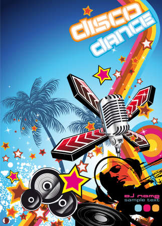 Retro Art Disco Dance Background with DJ Silhouette Stock Photo - 6346005