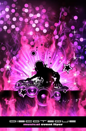 dj: Abstract Colorful Burning Dj Background for Alternative Disco Flyers Stock Photo