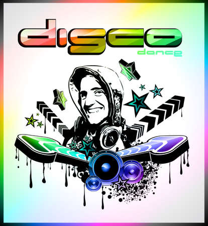 Hot Discoteque Night Background with DJ Shape and Magic Atmosphere photo