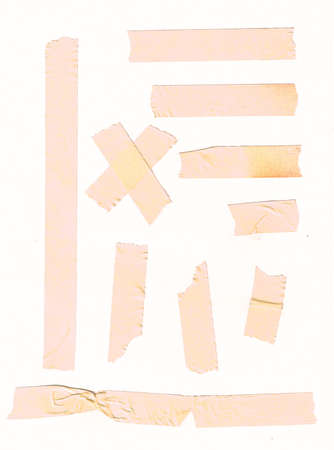 Set of various yellow adhesive tape for paper note or photo corners photo