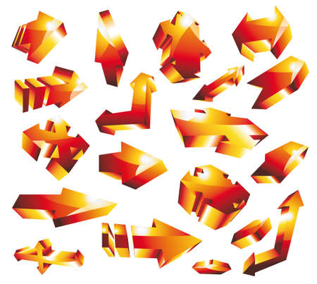 diminishing point: Set of 3D glossy gold orange arrow set. Various shape and directions.