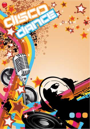 Retro Art Disco Dance Background with DJ Silhouette Stock Vector - 7719588