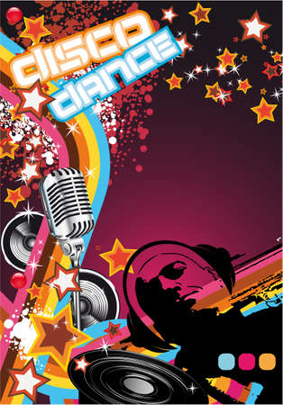 Retro Art Disco Dance Background with DJ Silhouette Stock Vector - 7719589