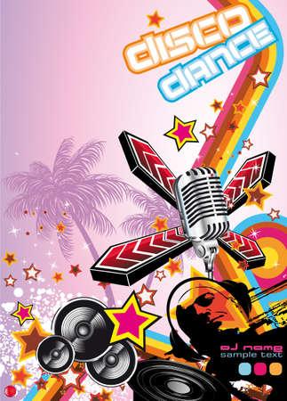 Retro Art Disco Dance Background with DJ Silhouette Stock Vector - 7719595