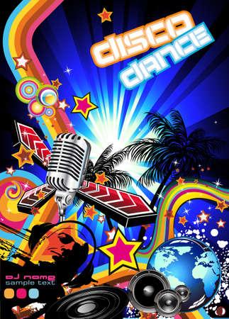 scheibe: Magic-Disco-Musik-Event-Hintergrund mit eine suggestive Disk Jockey