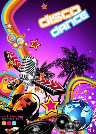flyer background: Magic Disco muziek gebeurtenis achtergrond met een suggestieve Disk Jockey