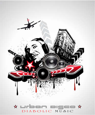 discoteque: Urban Techno Music Event Background with Crazy DJ Shape for Disco Flyers