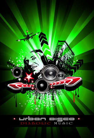 Urban Techno Music Event Background with Crazy DJ Shape for Disco Flyers Stock Vector - 7719602