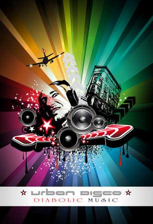 baile hip hop: Fondo de eventos de Techno Music urbano con forma de DJ Crazy para volantes de disco  Vectores
