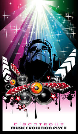 disk jockey: Magic Disco Music Event sfondo con un suggestivo Jockey Disk  Vettoriali