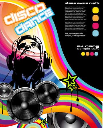disk jockey: Evento promozionale astratto discoteca flyer con Dj Shape e gli elementi di design colorato
