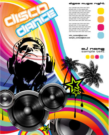 scheibe: Musik-Event-Flyerr mit DJ Silhouette und Regenbogen-Farben