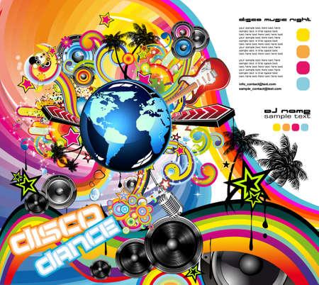 rapero: Fondo de volante de m�sica para internacional global evento con un mont�n de elementos de dise�o abstracto  Vectores