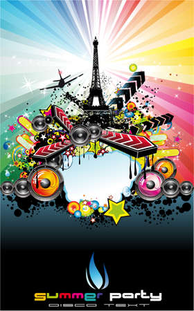 estilo urbano: Resumen urbana estilo Par�s fondo de disco (evento)  Vectores