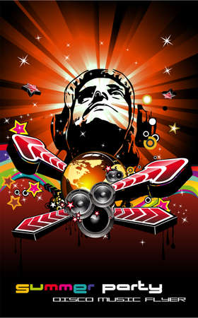 dj equipment: Abstract Colorful Music Event Background with Disk Jockey Shape for Discoteque Flyers