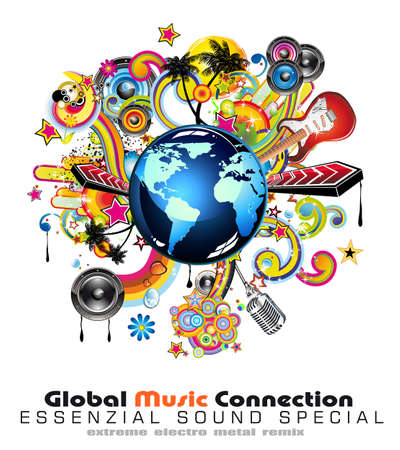 Global Music Event Abstract Background For Disco Flyers Vector