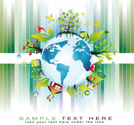 Go Green Global Nature Safety Background for  Eco Flyers Project Stock Vector - 7719477