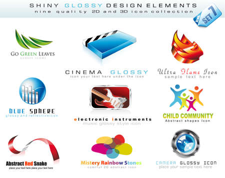 Abstract 2D and 3D Design Element Collection with colorful Shiny Icons Vector