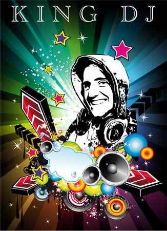 Astratto colorato Music Event sfondo con disk jockey forma per discoteca Flyers