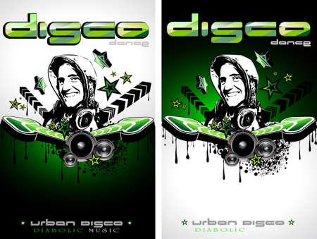 disk jockey: Astratto colorato Music Event sfondo con disk jockey forma per discoteca Flyers