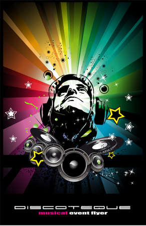 disk jockey: Abstract Colorful Music Event Background with Disk Jockey Shape for Discoteque Flyers