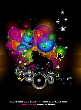party club: Abstract Light Music Event Background with DJ shape Illustration
