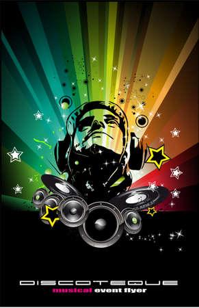 rapper: Fondo de Dj Burning colorida para alternativas volantes de disco de Abstract  Vectores