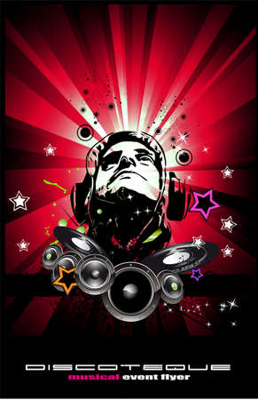 suggestive: Suggestive disk jockey shape on abstract music background for discoteque flyers
