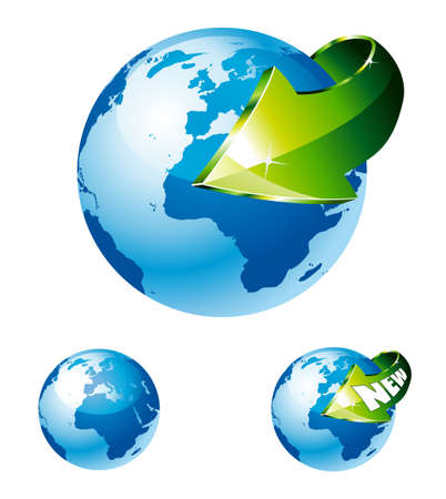 environment geography: 3d Style Earth Globe with an Arrow showing a recycle concept Illustration