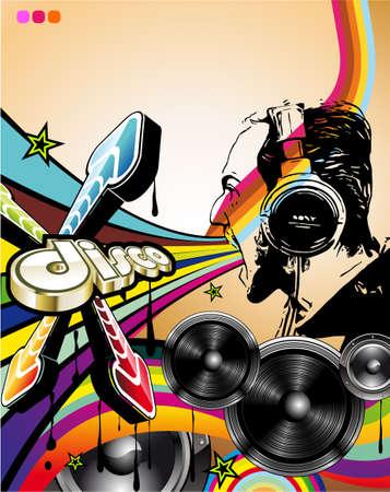 disk jockey: Forma suggestiva disco fantino sullo sfondo della musica astratta per volantini discoteque