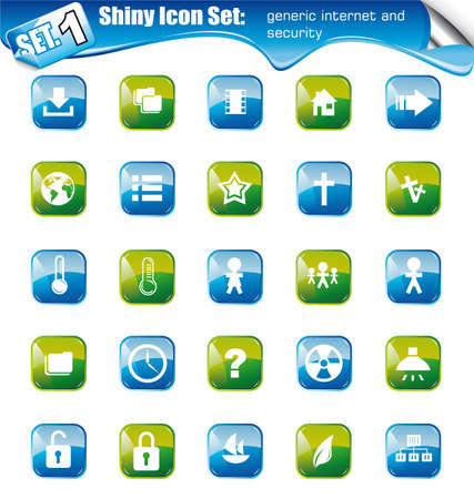 SET 1 - Shiny Icons: Generic Internet and Security Stock Vector - 7719503