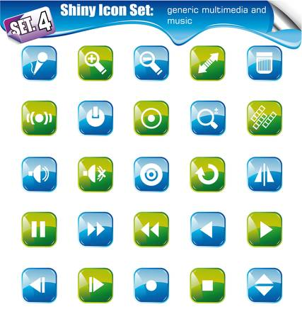 SET 4 - Shiny Icons: Generic multimedia and music Vector