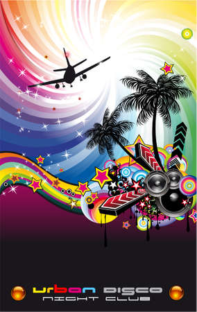 Tropical Music Event Disco Flyer with rainbow colours Stock Vector - 9894395