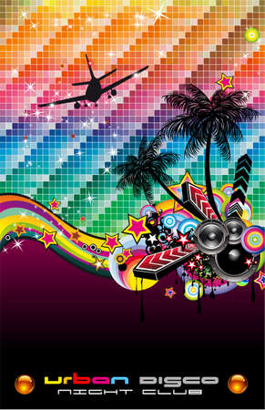 retro model: Abstract Tropical Dance Disco Flyer for Latin music event