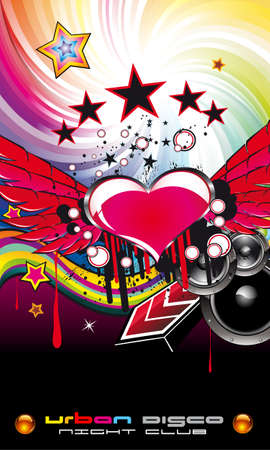 Hot Grunge Valentine s Day Music Event Backgruond for Disco Flyers Vector