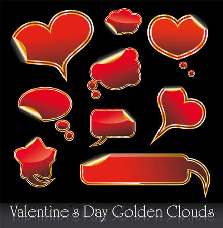 Set of Valentines Day Red and Gold Hearts and Clouds stickers Vector