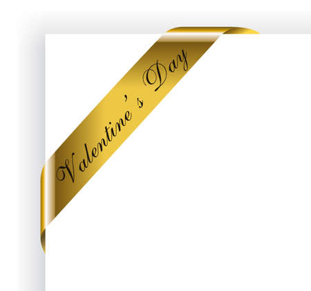 Golden Valentines Day Ribbon for pictures Frame Vector