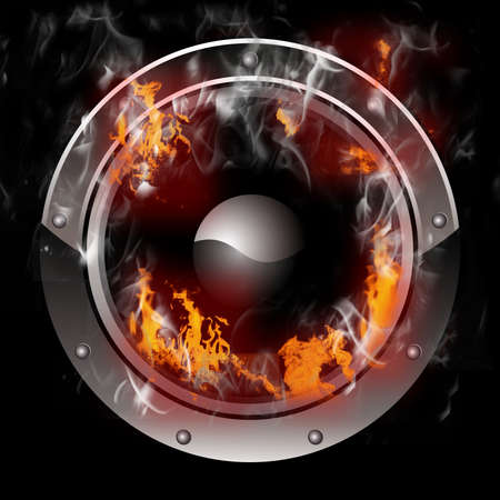 concert audio speaker: Hot Burning Speaker with real flames effect Stock Photo