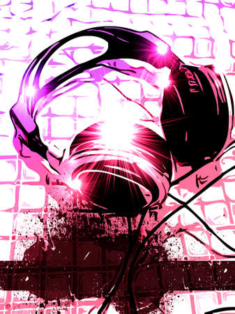deejay: Disk Jockey Handset on a table with Grunge Graphic and place for text.