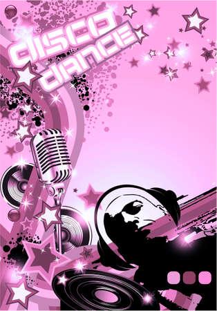 Retro Art Disco Dance Background with DJ Silhouette photo