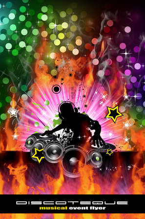 Abstract Colorful Burning Dj Background for Alternative Disco Flyers Stock Photo - 7825353